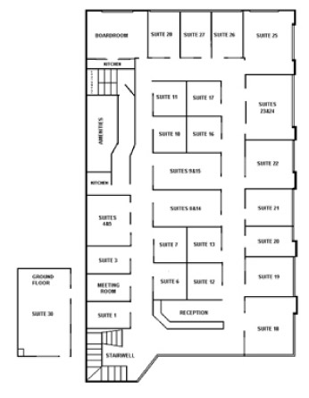 Bayside serviced offices layout map